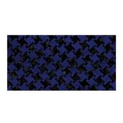 Houndstooth2 Black Marble & Blue Leather Satin Wrap by trendistuff