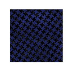 Houndstooth2 Black Marble & Blue Leather Small Satin Scarf (square) by trendistuff