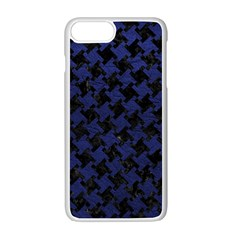 Houndstooth2 Black Marble & Blue Leather Apple Iphone 7 Plus White Seamless Case by trendistuff