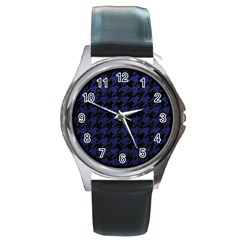 Houndstooth1 Black Marble & Blue Leather Round Metal Watch by trendistuff