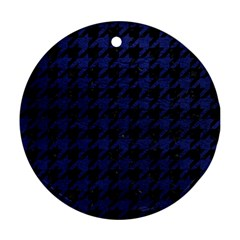 Houndstooth1 Black Marble & Blue Leather Ornament (round) by trendistuff