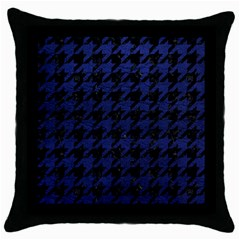 Houndstooth1 Black Marble & Blue Leather Throw Pillow Case (black) by trendistuff