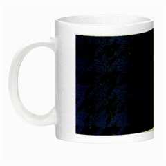 Houndstooth1 Black Marble & Blue Leather Night Luminous Mug by trendistuff