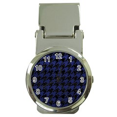 Houndstooth1 Black Marble & Blue Leather Money Clip Watch