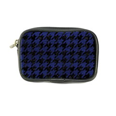Houndstooth1 Black Marble & Blue Leather Coin Purse by trendistuff