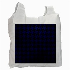 Houndstooth1 Black Marble & Blue Leather Recycle Bag (two Side) by trendistuff