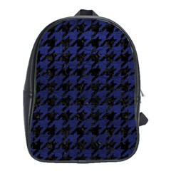 Houndstooth1 Black Marble & Blue Leather School Bag (xl) by trendistuff