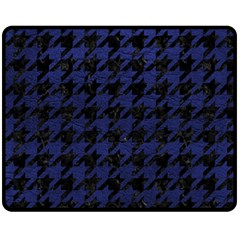 Houndstooth1 Black Marble & Blue Leather Double Sided Fleece Blanket (medium) by trendistuff