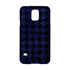 Houndstooth1 Black Marble & Blue Leather Samsung Galaxy S5 Hardshell Case  by trendistuff