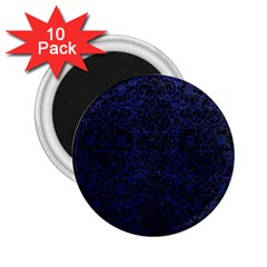 Damask2 Black Marble & Blue Leather (r) 2 25  Magnet (10 Pack) by trendistuff