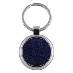 Damask2 Black Marble & Blue Leather (r) Key Chain (round) by trendistuff