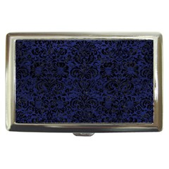Damask2 Black Marble & Blue Leather (r) Cigarette Money Case by trendistuff