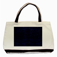 Damask2 Black Marble & Blue Leather (r) Basic Tote Bag (two Sides) by trendistuff