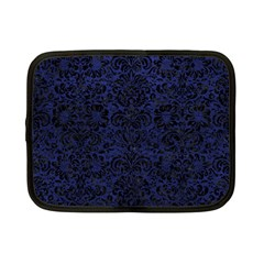 Damask2 Black Marble & Blue Leather (r) Netbook Case (small) by trendistuff