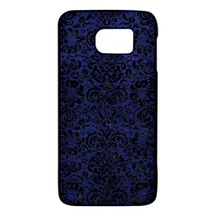 Damask2 Black Marble & Blue Leather (r) Samsung Galaxy S6 Hardshell Case  by trendistuff