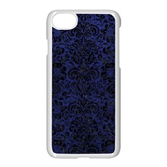 Damask2 Black Marble & Blue Leather (r) Apple Iphone 7 Seamless Case (white) by trendistuff