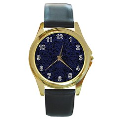 Damask2 Black Marble & Blue Leather Round Gold Metal Watch by trendistuff