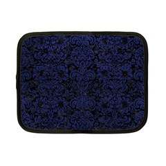 Damask2 Black Marble & Blue Leather Netbook Case (small) by trendistuff