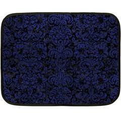 Damask2 Black Marble & Blue Leather Fleece Blanket (mini) by trendistuff