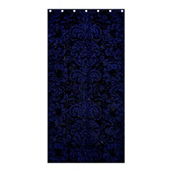 Damask2 Black Marble & Blue Leather Shower Curtain 36  X 72  (stall) by trendistuff