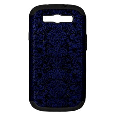 Damask2 Black Marble & Blue Leather Samsung Galaxy S Iii Hardshell Case (pc+silicone) by trendistuff