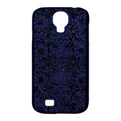 Damask2 Black Marble & Blue Leather Samsung Galaxy S4 Classic Hardshell Case (pc+silicone) by trendistuff