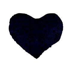 Damask2 Black Marble & Blue Leather Standard 16  Premium Flano Heart Shape Cushion  by trendistuff