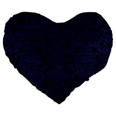 Damask2 Black Marble & Blue Leather Large 19  Premium Flano Heart Shape Cushion by trendistuff