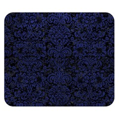 Damask2 Black Marble & Blue Leather Double Sided Flano Blanket (small) by trendistuff