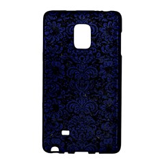 Damask2 Black Marble & Blue Leather Samsung Galaxy Note Edge Hardshell Case by trendistuff