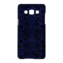 Damask2 Black Marble & Blue Leather Samsung Galaxy A5 Hardshell Case  by trendistuff