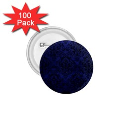 Damask1 Black Marble & Blue Leather (r) 1 75  Button (100 Pack)  by trendistuff
