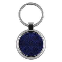 Damask1 Black Marble & Blue Leather (r) Key Chain (round) by trendistuff