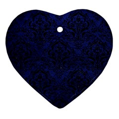 Damask1 Black Marble & Blue Leather (r) Heart Ornament (two Sides) by trendistuff