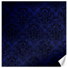 Damask1 Black Marble & Blue Leather (r) Canvas 20  X 20  by trendistuff