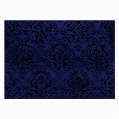 Damask1 Black Marble & Blue Leather (r) Large Glasses Cloth by trendistuff