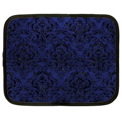Damask1 Black Marble & Blue Leather (r) Netbook Case (xl) by trendistuff