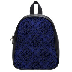 Damask1 Black Marble & Blue Leather (r) School Bag (small) by trendistuff