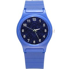 Damask1 Black Marble & Blue Leather (r) Round Plastic Sport Watch (s) by trendistuff