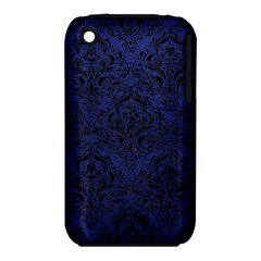 Damask1 Black Marble & Blue Leather (r) Apple Iphone 3g/3gs Hardshell Case (pc+silicone) by trendistuff