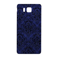 Damask1 Black Marble & Blue Leather (r) Samsung Galaxy Alpha Hardshell Back Case by trendistuff