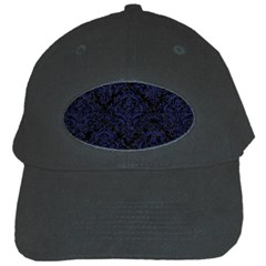 Damask1 Black Marble & Blue Leather Black Cap by trendistuff