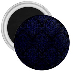 Damask1 Black Marble & Blue Leather 3  Magnet by trendistuff