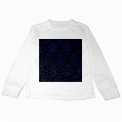 Damask1 Black Marble & Blue Leather Kids Long Sleeve T Shirt by trendistuff