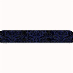 Damask1 Black Marble & Blue Leather Small Bar Mat by trendistuff