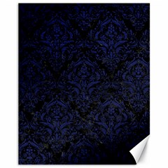 Damask1 Black Marble & Blue Leather Canvas 11  X 14  by trendistuff