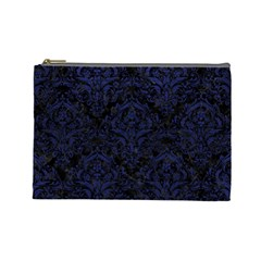Damask1 Black Marble & Blue Leather Cosmetic Bag (large) by trendistuff