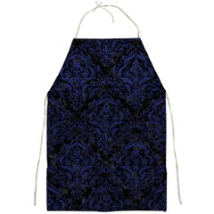 Damask1 Black Marble & Blue Leather Full Print Apron by trendistuff