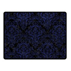 Damask1 Black Marble & Blue Leather Fleece Blanket (small) by trendistuff