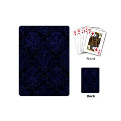 Damask1 Black Marble & Blue Leather Playing Cards (mini) by trendistuff